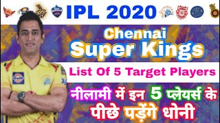 IPL 2020 - CSK 5 Target Players List For IPL Auction | MY Cricket Production