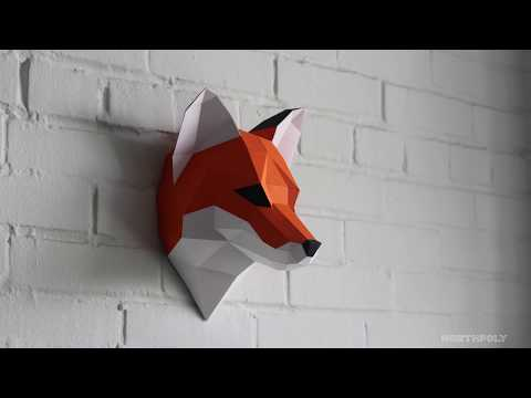 Low poly Fox. Papercraft. Timelapse