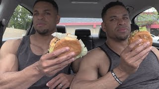 Eating HARDEE'S CLASSIC DOUBLE CHEESEBURGER @Hodgetwins