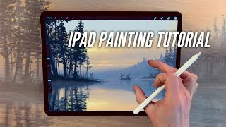 IPAD PAINTING TUTORIAL - Lake and trees landscape art in Procreate