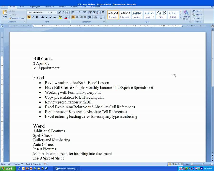 microsoft word how to add bullet points