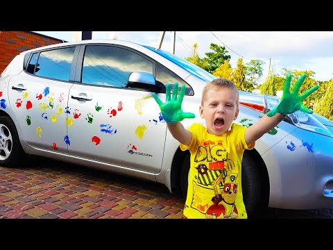 BABY made a finger painted car   Learn Colors With Finger Family Song