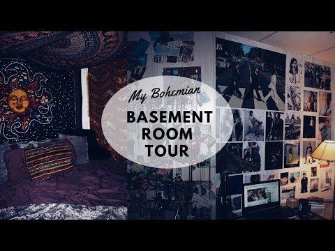 MY BOHEMIAN BASEMENT ROOM TOUR!