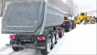 HEAVY RC MACHINES WORK IN THE SNOW! ICE ROAD TRUCKERS HARD DAY! RC VEHICLES FROM VOLVO & CLAAS