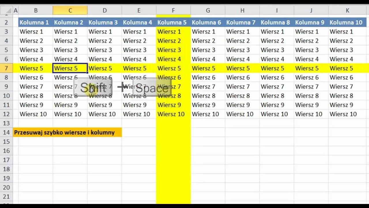 Excel 2010 Przesuwanie Wierszy I Kolumny Porada 11