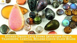 ETCHED Druzy Lava Stone Imitation Ovals, Teardrops, Lentils, Melons Czech Glass Beads
