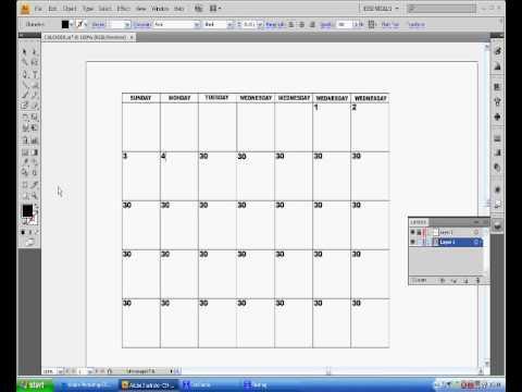 Adobe Illustrator Cs4 Calendar tutorial Part two - YouTube