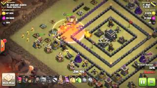 Clash of clans maxd th9 war attack 3 star GOWIWI SQUARE BASE ultimate attack