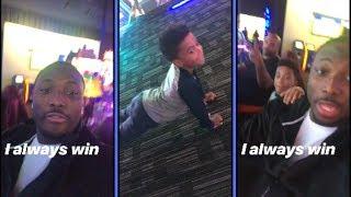 Lesean McCoy and Son At Arcade Loser Does Push Ups