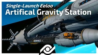 KSP - SINGLE LAUNCH Eeloo Artificial Gravity Station! [10000 sub special]