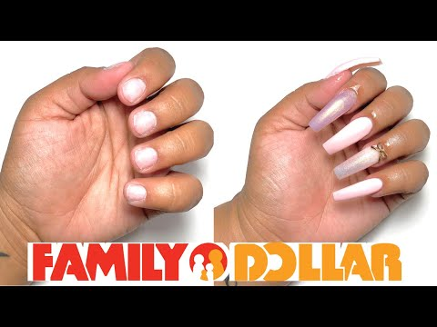 FAMILY DOLLAR DIY ACRYLIC NAILS AT HOME ALL PRODUCTS UNDER $2 - *NOT CLICKBAIT*