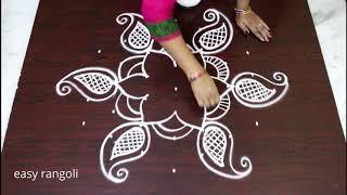 Creative kolam designs with 7 Dots   Daily rangoli designs   latest muggulu
