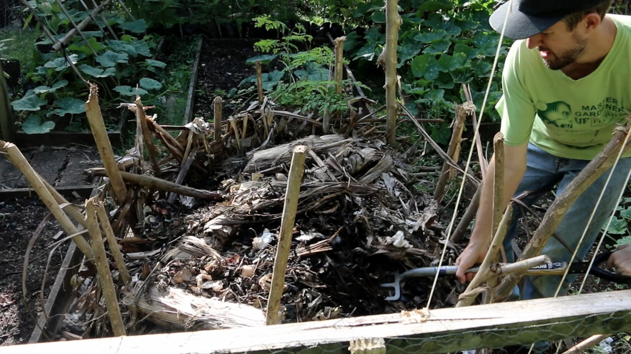 how i turn a compost pile and get it again youtube