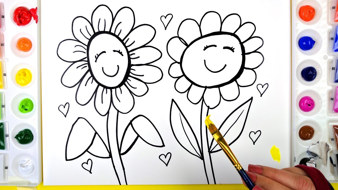 Coloring two flowers painting pages for kids to learn for Teaching kids to paint on canvas