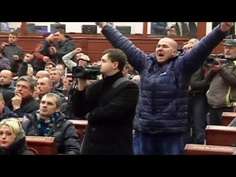 Pro-Russian protesters occupy regional government building in Donetsk, Eastern Ukraine - no comment