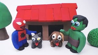 FUN PET CARE! In Green & Red Baby Superhero - Stop-Motion Play Doh Cartoons #31