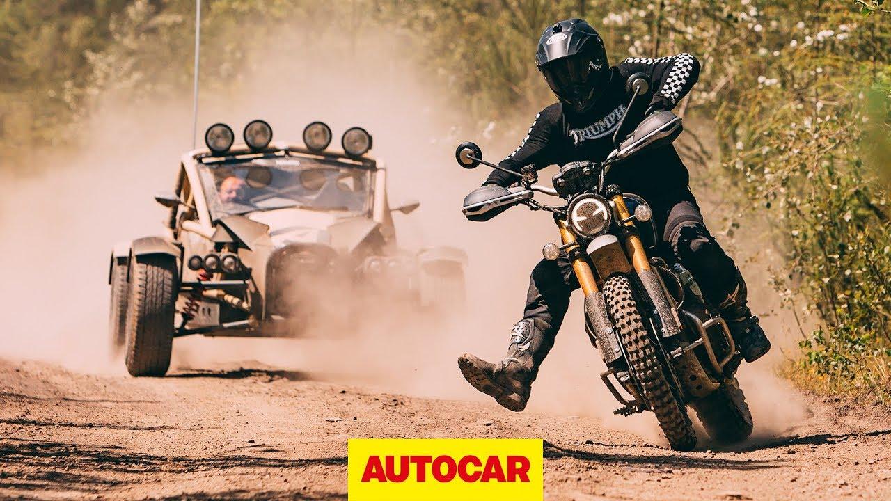 2019 Triumph Scrambler vs Ariel Nomad   Off-road battle   Autocar