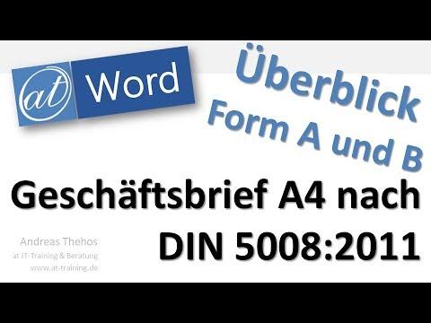 Din 5008 Geschäftsbrief Form A Und B Word Youtube