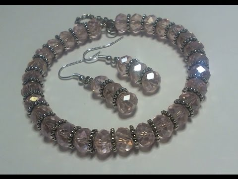 "How to make a Beautiful pink beaded memory wire ""Bracelet & Earring"" set"
