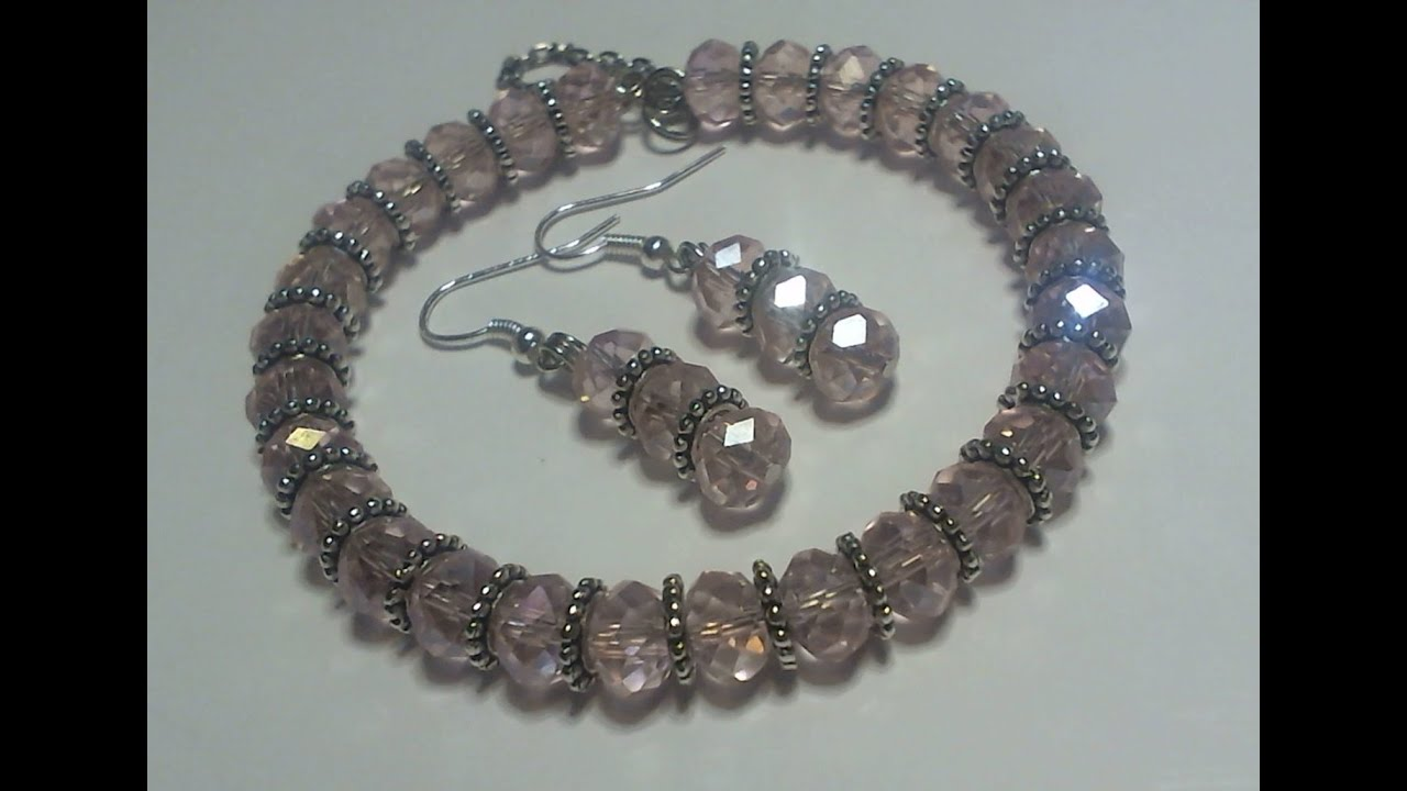 How To Make A Beautiful Pink Beaded Memory Wire Bracelet Earring Set You