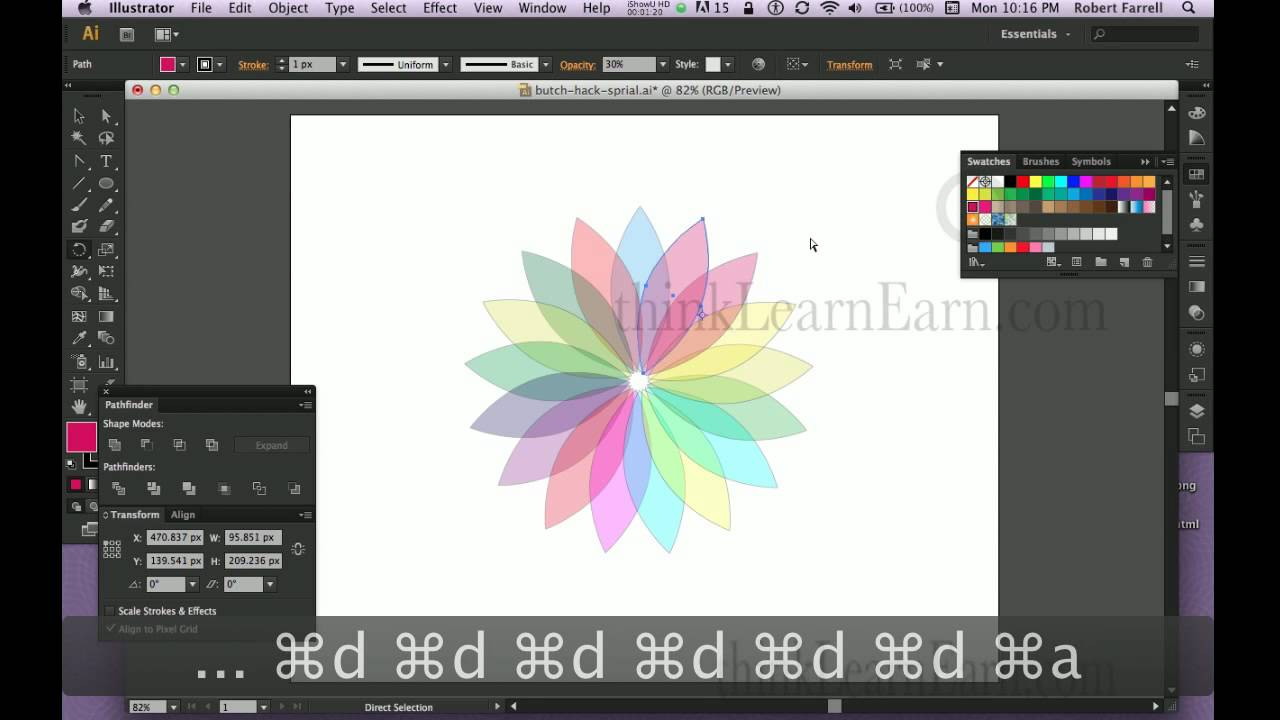 Color adobe online - Adobe Illustrator Cs6 Master Online Tutorial Course Create A Multi Color Flower Design Fast Way