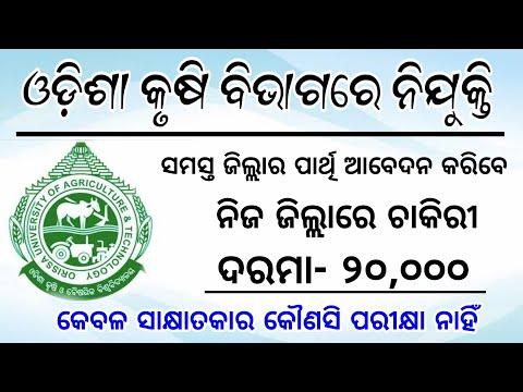 Odisha Agriculture Department Vacancy | Odisha Job Update 2019 | Jobs In Bhubaneswar