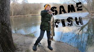 Kid Catches Same Pike Twice