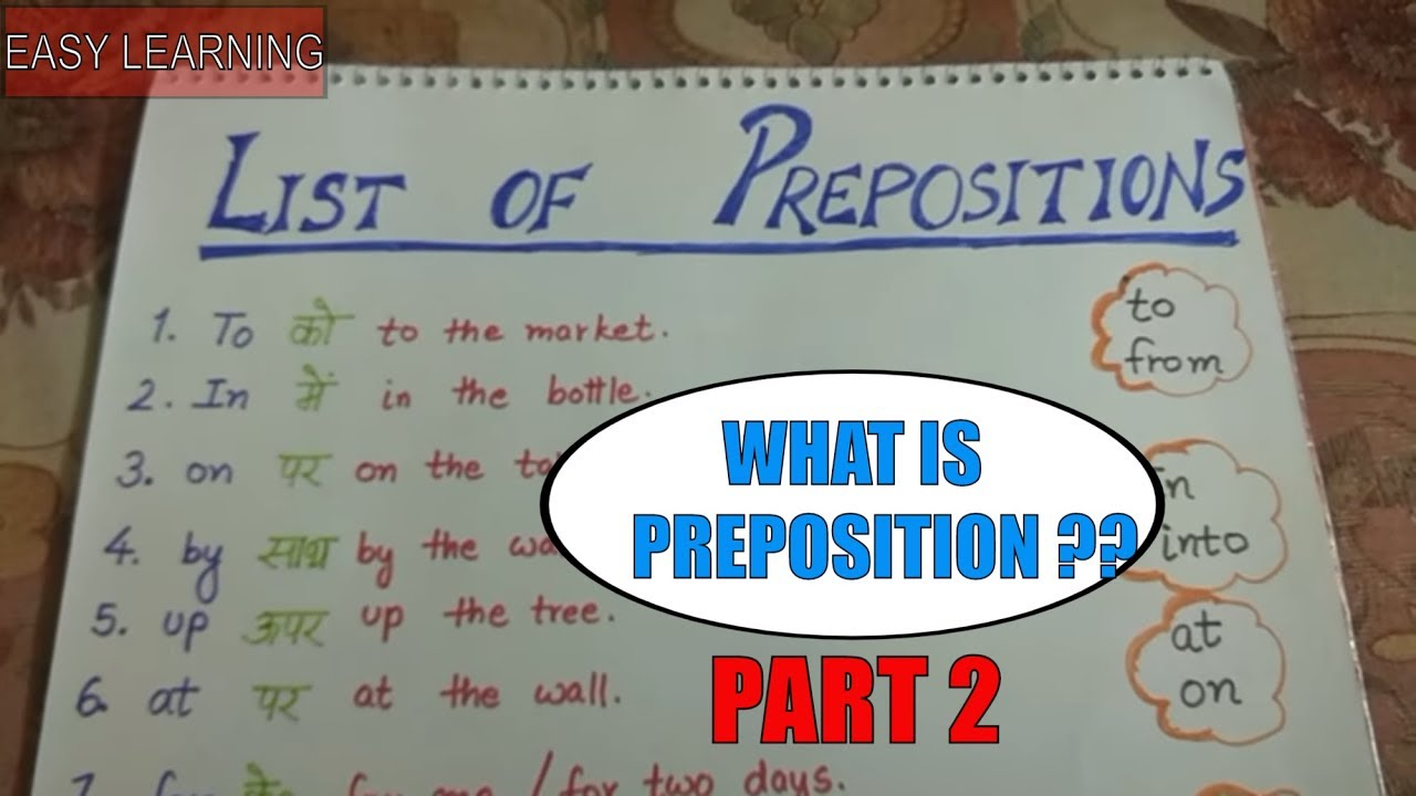Preposition In Learn In Marathi All Complate: What Is Preposition ? Part 2
