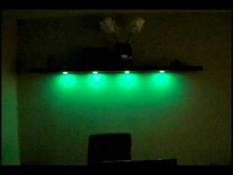 led color disc kit with remote on ikea shelf youtube. Black Bedroom Furniture Sets. Home Design Ideas
