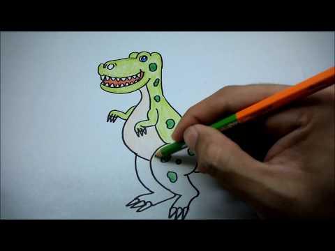 ไดโนเสาร์ สอนวาดรูปการ์ตูนระบายสี How to Draw a Dinosaur Cartoon for Kids Easy Step by Step