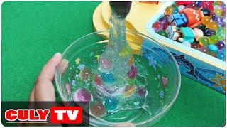 hướng dẫn làm chất nhờn ma quái trong suốt và bi nước  - how to make slime water beads