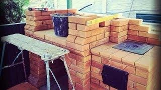 Строительство (кладка) кирпичного барбекю с печью под казан пошагово