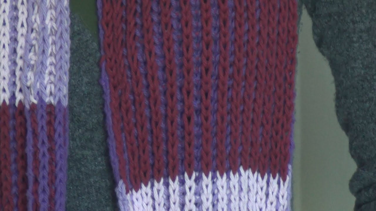 Loom Knitting With Two Colors : Knitting 2 color brioche stitch scarf youtube