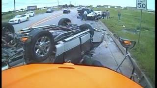 School Bus Dashcam Captures Oklahoma Car Crash