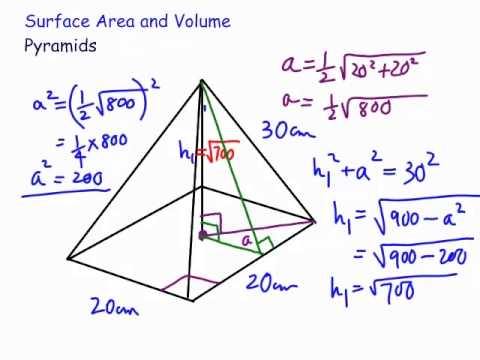 Volume and Surface Area : Square Pyramid - YouTube