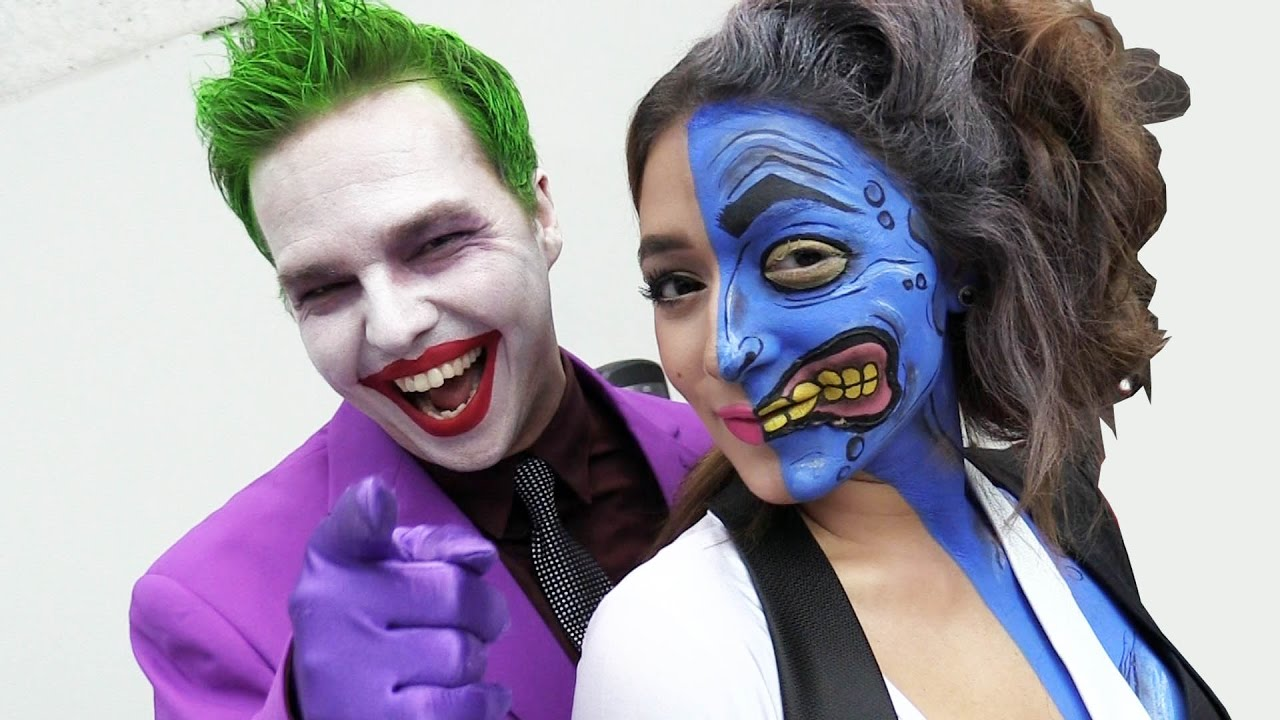 The Joker Vs Comic Con Spider Man Harley Quinn Real Life Superhero Movie Youtube
