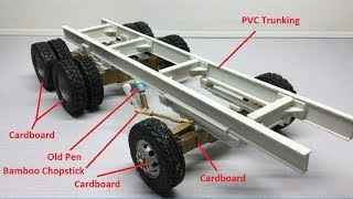 how to Make RC Homemade 6x6 Heavy Truck Off-Road from Cardboard to Plastic Body Easy Handmade.