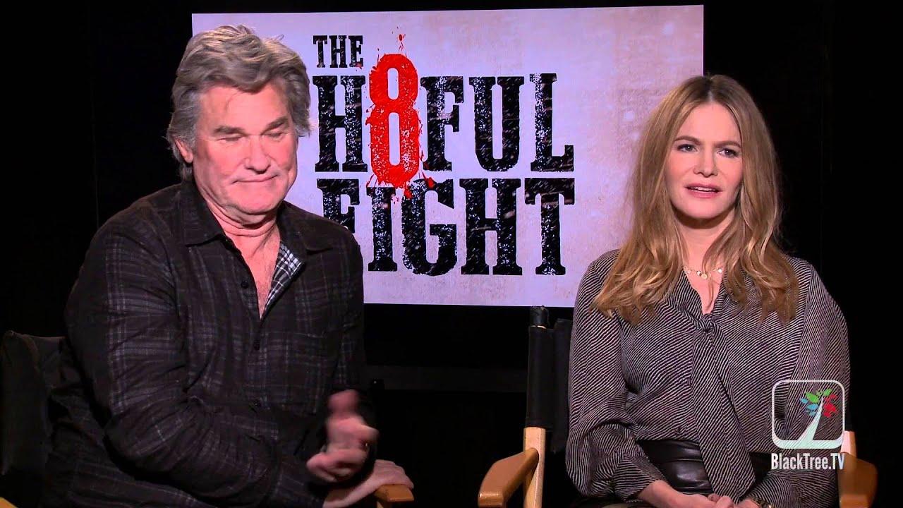The Hateful 8 Interview W Kurt Russell And Jennifer Jason Leigh Youtube