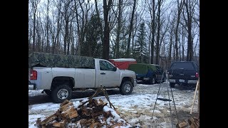 Winter TRUCK CAMPING iฑ Freezing Cold and High winds
