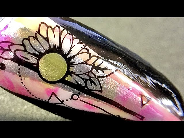 Live_ Flower nail art over triangle block shape using sticky stamping polish + watercolor _SheModern