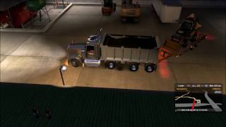 American Truck Simulator W900 Dump truck with pup trailer Cat 422