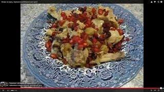 Рецепт курица жареная на сковороде (с луком кизилом и гранатовыми зёрнами )