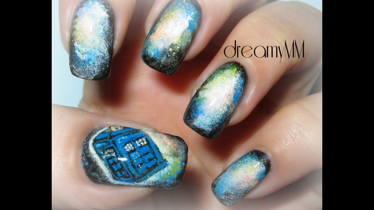 Galaxy Doctor Who Tardis Inspired Nail Art Tutorial Youtube