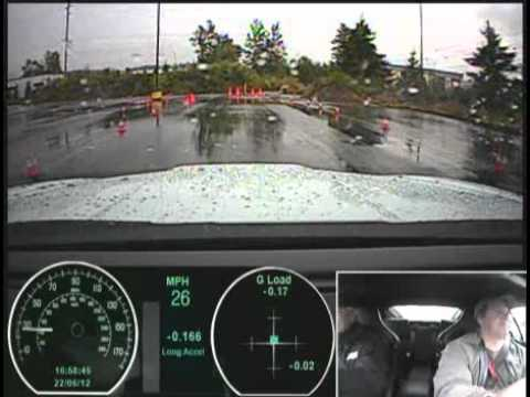 0-60 test in the Jaguar XKR-S Supercharged 550 HP Supercar in the wet