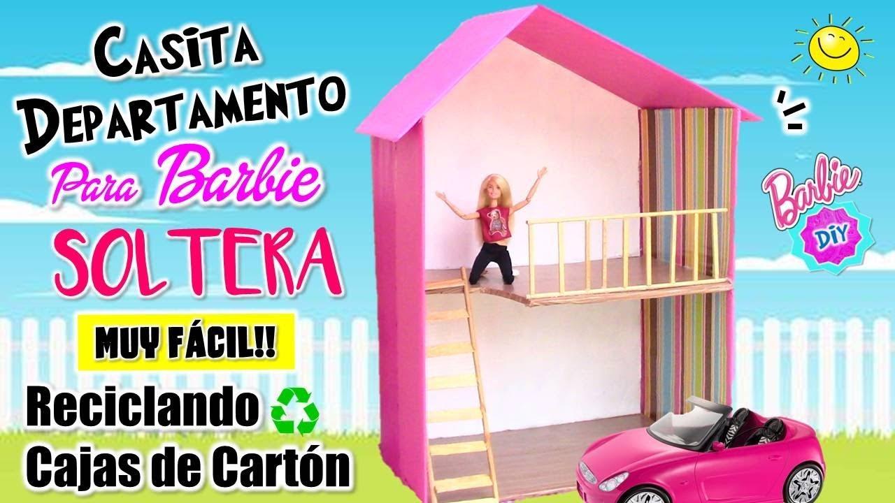 442bcb59fe21 🏡Como hacer una CASA para Muñeca Barbie SOLTERA!! RECICLANDO Cajas de  cartón MUY FACIL!