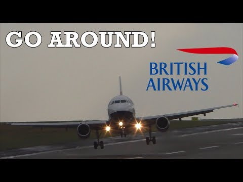 STORM ERIK 2019 - BRITISH AIRWAYS GO AROUND A319  - Leeds Bradford Airport, with ATC