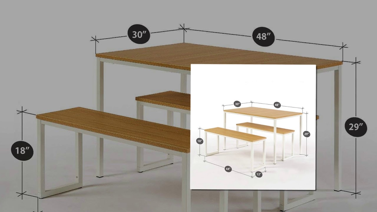 107af48f2 Zinus Modern Studio Collection Soho Dining Table with Two Benches 3 piece  set