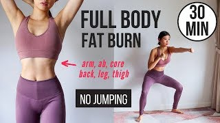 30 min Full Body Fat Burn HIIT (NO JUMPING) - Ab, Core, Arm, Back, Leg, Thigh & Cardio ~ Emi