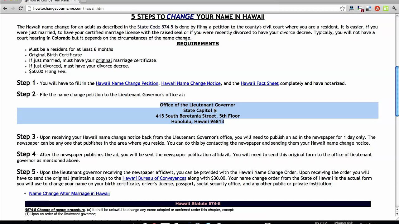 How to Change Your Name in Hawaii with Pictures wikiHow – Name Change Form