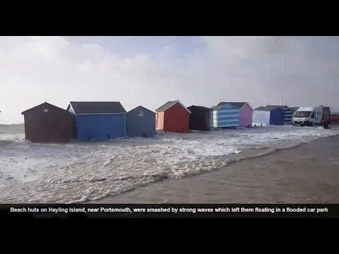 STORM ELEANOR AT HIGH TIDE,swept across most of n. Europe -  JAN 2018